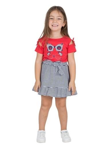 Silversun Kids Kız Çocuk Beli Lastikli Bağlamalı Etek Uçları Fırfırlı Örme Etek Fc 216115 Lacivert